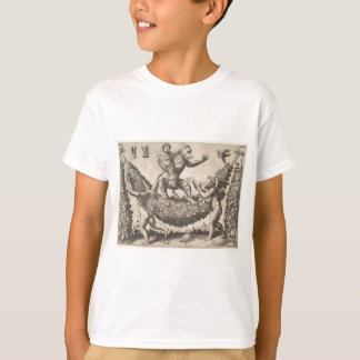 A monkey holding a bound putto standing on a garla T-Shirt