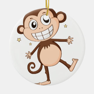 a monkey Double-Sided ceramic round christmas ornament