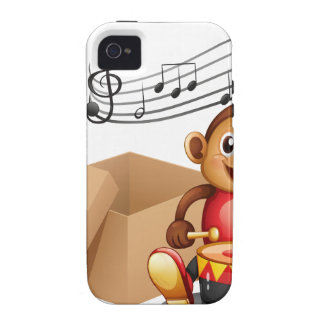A monkey playing with musical notes and an empty b vibe iPhone 4 cases