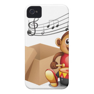 A monkey playing with musical notes and an empty b iPhone 4 cover