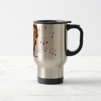 A monkey playing with the cymbals 15 oz stainless steel travel mug