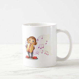 A monkey playing with the cymbals basic white mug
