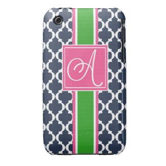 A mono case Preppy quatrefoil iphone 3 3g case iPhone 3 Cases