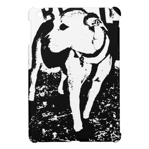 A monochromatic mixed breed Pitbull puppy dog Cover For The iPad Mini