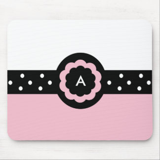 A :: Monogram A Dotted Pink & White Mousepad