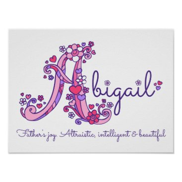 Art Themed A monogram art Abigail girls name meaning poster