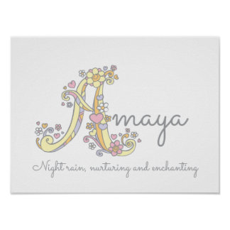 A monogram art Amaya girls name meaning poster