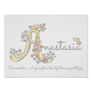 A monogram art Anastasia girls name meaning poster