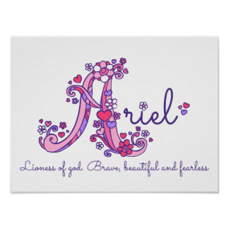 A monogram art Ariel girls name meaning poster