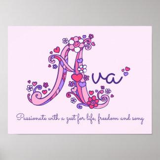 A monogram art Ava girls name meaning poster