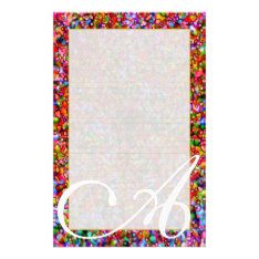 """A Monogram """"Colorful Bubbles"""" Fine Lined Stationery at Zazzle"""