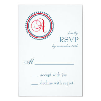 A Monogram Dot Circle RSVP Cards (Red / Blue)