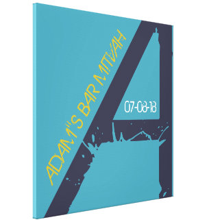 A Monogram Initial Bar Bat Mitzvah Sign-In Board Canvas Print