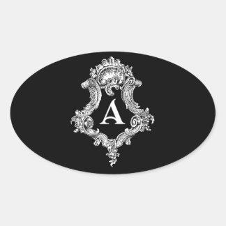 A Monogram Initial Oval Sticker
