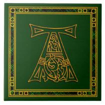 "A Monogram ""Irish Gold on Green"" Ceramic Tiles"