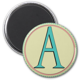 A-MONOGRAM LETTER 2 INCH ROUND MAGNET