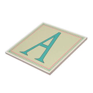 A-MONOGRAM LETTER CERAMIC TILE