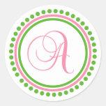 A Monogram (Light Pink / Green Dot Circle) Sticker