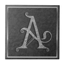 "A Monogram ""Medieval Grey Stone"" Ceramic Tile"