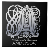 """A Monogram """"Silver Lace on Black"""" with Names Tile"""