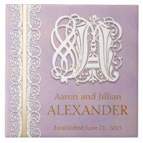 "A Monogram ""White Lace on Lavender"" Wedding Tile"
