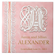"""A Monogram """"White Lace on Pink"""" Wedding Tile"""