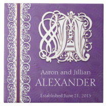 "A Monogram ""White Lace on Purple"" Wedding Tile"