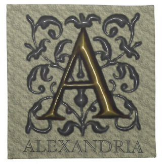 A- Monograma grabado en relieve del vintage Servilletas De Papel