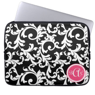 """""""A"""" Monogrammed Damask in Pink and Black Laptop Computer Sleeves"""