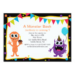 "A Monster Bash Kids Birthday Invitation 5"" X 7"" Invitation Card"