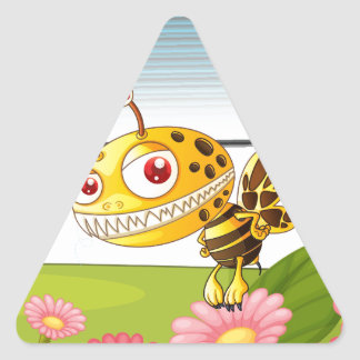 A monster bee triangle sticker