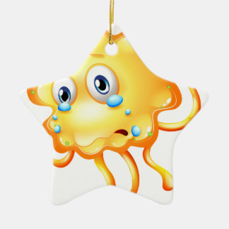 A monster crying because of sadness Double-Sided star ceramic christmas ornament
