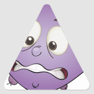 a monster face triangle sticker
