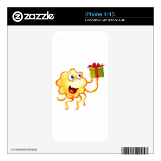 A monster holding a gift with a red ribbon iPhone 4 skin