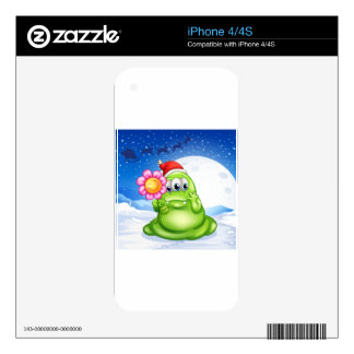 A monster in a snowy land holding a flower skins for iPhone 4S