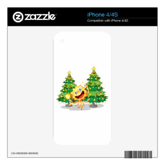 A monster near the christmas trees holding a troph skins for the iPhone 4