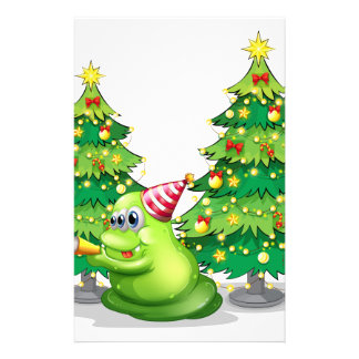 A monster near the christmas trees stationery