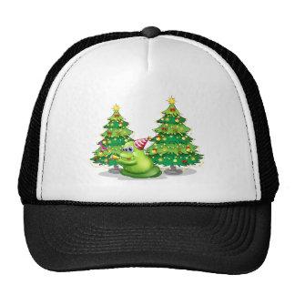 A monster near the christmas trees trucker hat