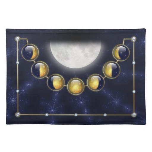 A Month in the Life of the Moon Placemat Cloth Placemat