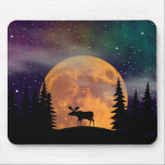 """A Moose on the Loose Mouse Pad<br><div class=""""desc"""">Another in the &quot;Northern Nights - Northern Lights&quot; series - this time with a bull moose silhouetted against a magnificent full moon peaking through a northern forest of pines -all under an aura of the aurora. Copyright Bayview Holding Company,  LLC. All rights reserved.</div>"""