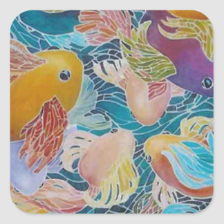 A MOSAIC KOI FISH POND SQUARE STICKER