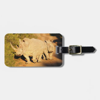 A Mother and Calf White Rhino in South Africa Bag Tag