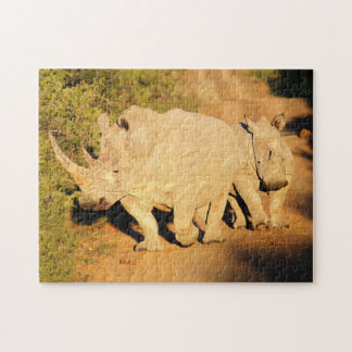 A Mother and Calf White Rhino in South Africa Jigsaw Puzzles