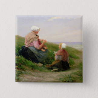 A Mother and her Small Children Button