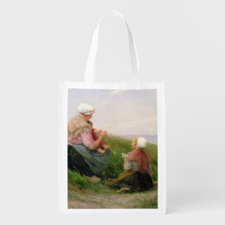 A Mother and her Small Children Grocery Bag