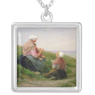 A Mother and her Small Children Silver Plated Necklace