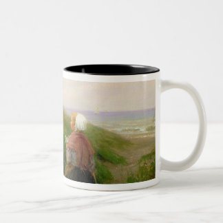 A Mother and her Small Children Two-Tone Coffee Mug