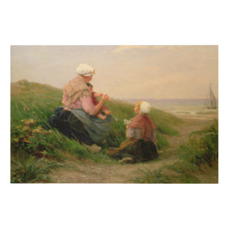 A Mother and her Small Children Wood Wall Art