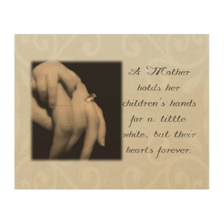 A Mother Holds Her Children's Hands Wood Canvas