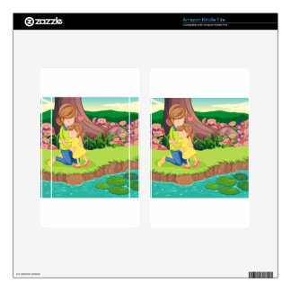 A mother hugging her daughter at the riverbank kindle fire decals